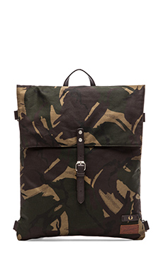 Fred Perry British Millerain Knapsack in Hunting Green Camo
