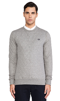Fred Perry Quilted Marl Sweatshirt in Steel Marl