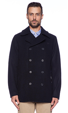 Fred Perry Wool Peacoat in Navy