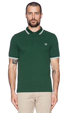 Fred Perry Twin Tipped Polo in Ivy Snow White