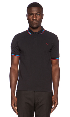 Fred Perry Twin Tipped Polo in Navy Clear Blue Rosso