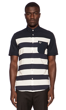 Fred Perry Pique Stripe Shirt in Blue Granite