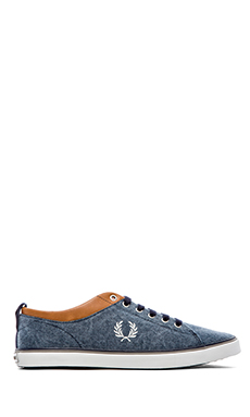 Fred Perry Hallam Printed Sneaker in Carbon Blue & Light Ecru