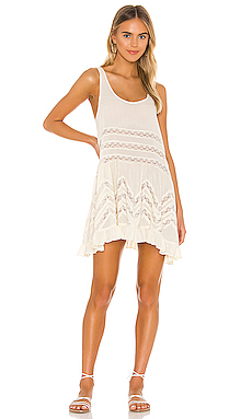 Free People Voile and Lace Trapeze Slip in Tea Combo