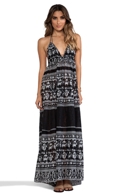 Free People Printed Triangle Top Maxi Dress in Black Combo