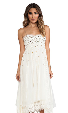 Free People Studded Lace Party Dress in Ivory