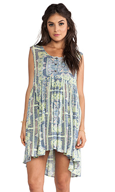 Free People Take Me To Thailand Dress in Fog Combo
