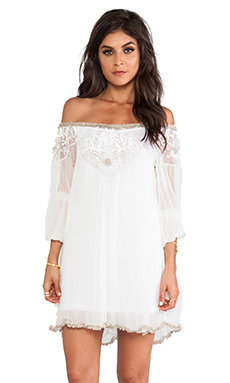 Free People Embellished Off The Shoulder Tunic in Ivory Combo