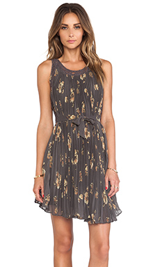 Free People Pleated Tent Dress in Mocha Combo