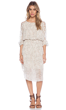 Free People Charlotte Midi Dress in Alabaster Combo