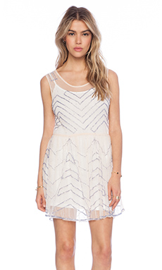 Free People Embellished Mesh Mini Slip in Soft Peach