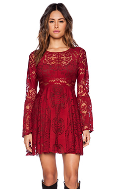 Free People Lover's Folk Song Dress in Rich Red