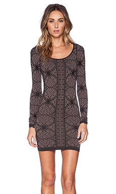 Free People Printed Long Sleeve Bodycon in Black Combo