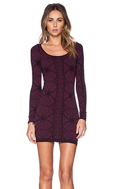 Free People Printed Long Sleeve Bodycon in Very Berry Combo