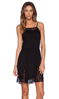 Free People Lace Insert Swing Slip Dress in Black