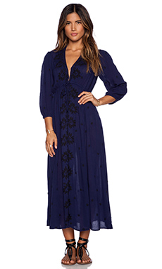 Free People Embroidered V Neck Dress in Deep Navy Combo