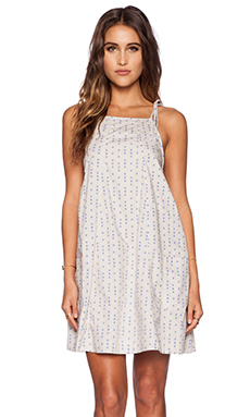 Free People Everlong Trapeze Mini Dress in Stone Combo
