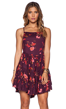 Free People Circle of Flowers Slip Dress in Cranberry