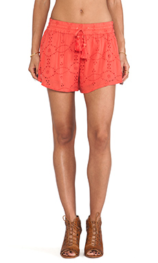Free People Eyelet Embellished Short in Tomato
