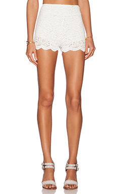 Free People Floral Lace Biker Short in Ivory