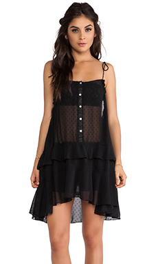 Free People Relaxed Tired Ruffle Slip in Black Combo