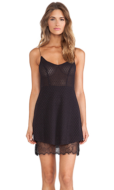 Free People Skinny Mini Lace Slip in Black