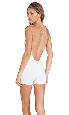 Free People Seamless Low Back Romper in White