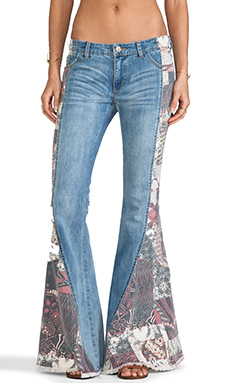 Free People Patch Pieced Flare in Indigo Combo