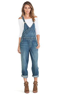 Free People Blue Farm Denim Surplice Overall in Spring Wash