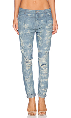 Free People Rugged Tapered Destroyed Boyfriend in Indigo