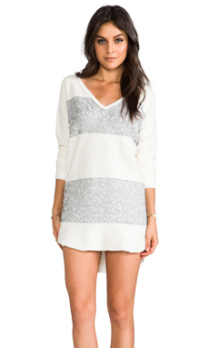 Free People Leopard Sequin Stripe Pullover in Ivory Combo