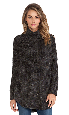 Free People Dylan Tweed Pullover in Charcoal Combo