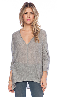 Free People Sadie V Pullover in Heather Grey