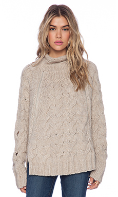 Free People Cable Zipper Cape in Oatmeal