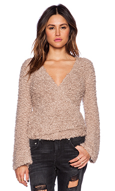 Free People Marshmallow Surplice Pullover in Taupe