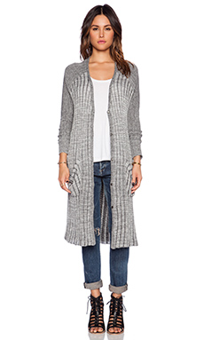 Free People Shadow Stripe Pocket Cardi in Ivory & Black Combo