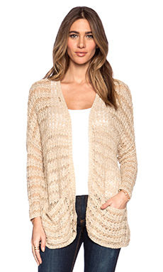 Free People Last Night Stripe Cardigan in Tan