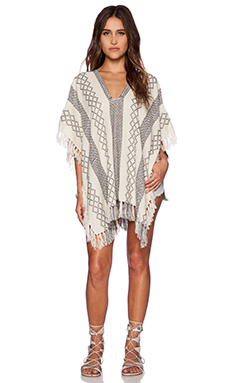 Free People Fringe Poncho in Ivory Combo