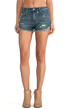 Free People Rugged Ripped Denim Short in Eagle Wash