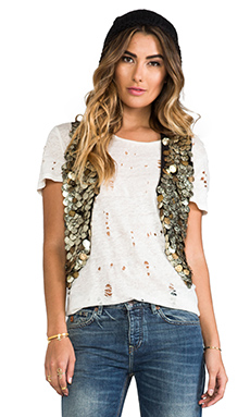 Free People Gold Coin Vest in Gold