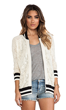 Free People Track Jacket in Ivory Combo