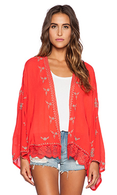 Free People Embroidered Kimono Jacket in Fire Red Combo