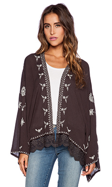 Free People Embroidered Kimono Jacket in Washed Black Combo