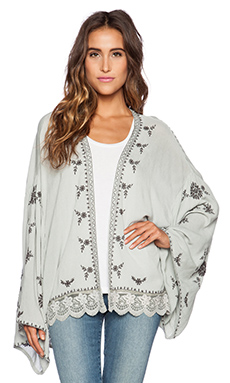 Free People Embroidered Kimono Jacket in Pale Blue Combo