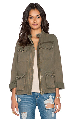 Free People Rumpled Army Jacket in Olive
