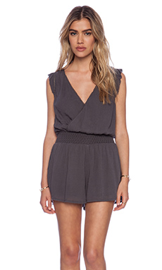 Free People Soft Surplice Romper in Charcoal
