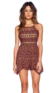 Free People Open Side Printed Romper in Wine Combo