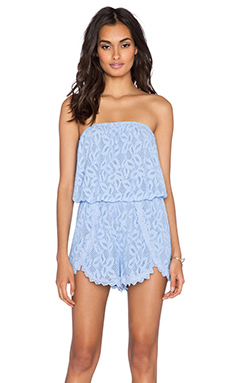 Free People Tahlia Lace Romper in Bluebell