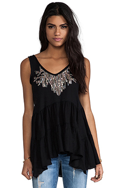 Free People Darling Dee Embellished Tunic in Black