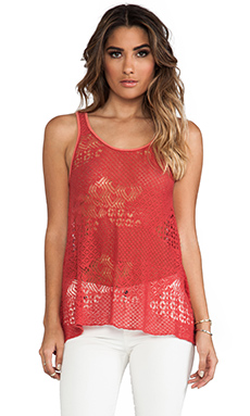 Free People Lola's Tank in Washed Red Combo